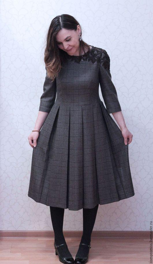 Платья ручной работы. Ярмарка Мастеров - ручная работа. Купить платье в клетку с шерстяным кружевом. Handmade. В клеточку