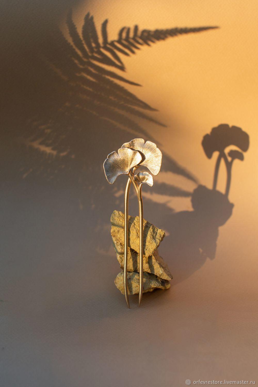 "Ар-нуво. Длинная заколка для волос ""Гинкго"". Латунь, Заколки, Москва,  Фото №1"
