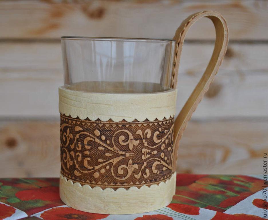 Банные принадлежности ручной работы. Ярмарка Мастеров - ручная работа. Купить Подстаканник из бересты + стакан. Кружка для чая, холодных напитков. Handmade.