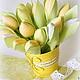 Цветы ручной работы. Ярмарка Мастеров - ручная работа. Купить Желтые тюльпаны. Handmade. Зеленый, тюльпаны тильда, подарок