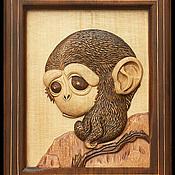 """Картины и панно ручной работы. Ярмарка Мастеров - ручная работа картина из дерева """"Мартышка"""". Handmade."""