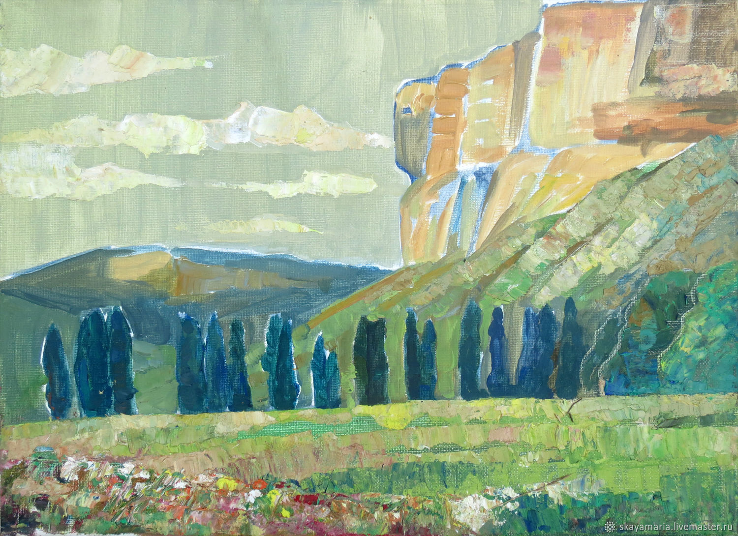 Oil painting. Crimean mountain valley, Pictures, Moscow,  Фото №1