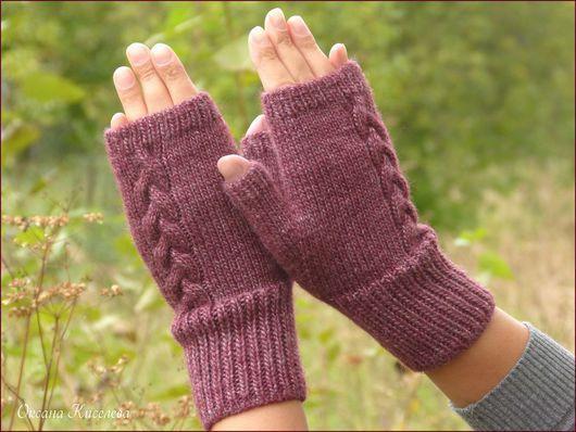 Варежки, митенки, перчатки ручной работы. Ярмарка Мастеров - ручная работа. Купить Митенки перчатки женские вязаные бордовые (винные, вишневые). Handmade.