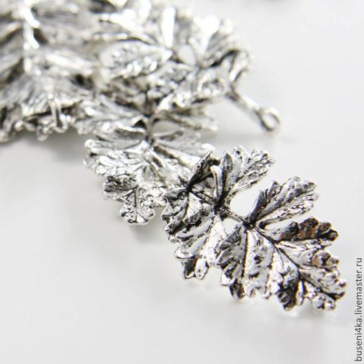 Для украшений ручной работы. Ярмарка Мастеров - ручная работа. Купить Подвеска-коннектор Листик №26, античное серебро (1шт). Handmade.