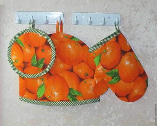 """Кухня ручной работы. Ярмарка Мастеров - ручная работа. Купить """"Апельсиновый"""" заварочный набор. Handmade. Грелка на чайник, подставка, апельсины"""