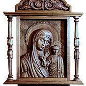Картины и панно handmade. Livemaster - original item Icon of Kazan mother of God 50х70 cm, beech.. Handmade.