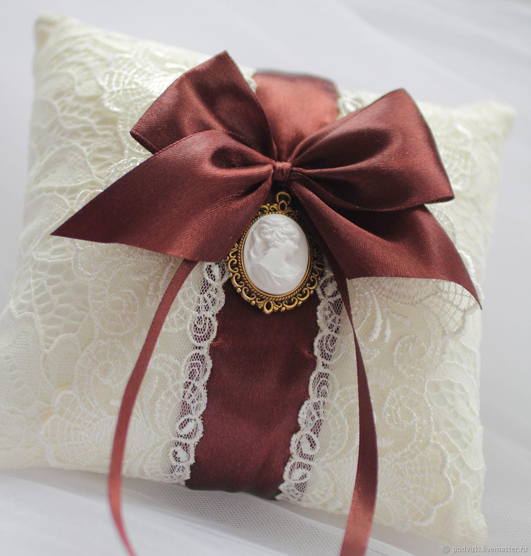 "Подушечка для колец "" Сливочный-шоколад"" (для загса), Pillows for rings, Moscow,  Фото №1"