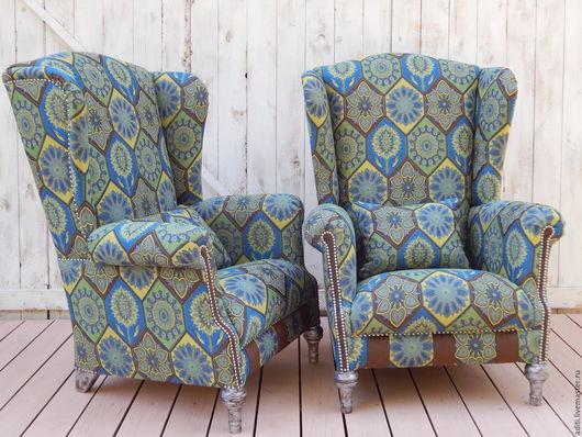 Мебель ручной работы. Ярмарка Мастеров - ручная работа. Купить кресло № 72. Handmade. Синий, кресло с ушами, пэчворк