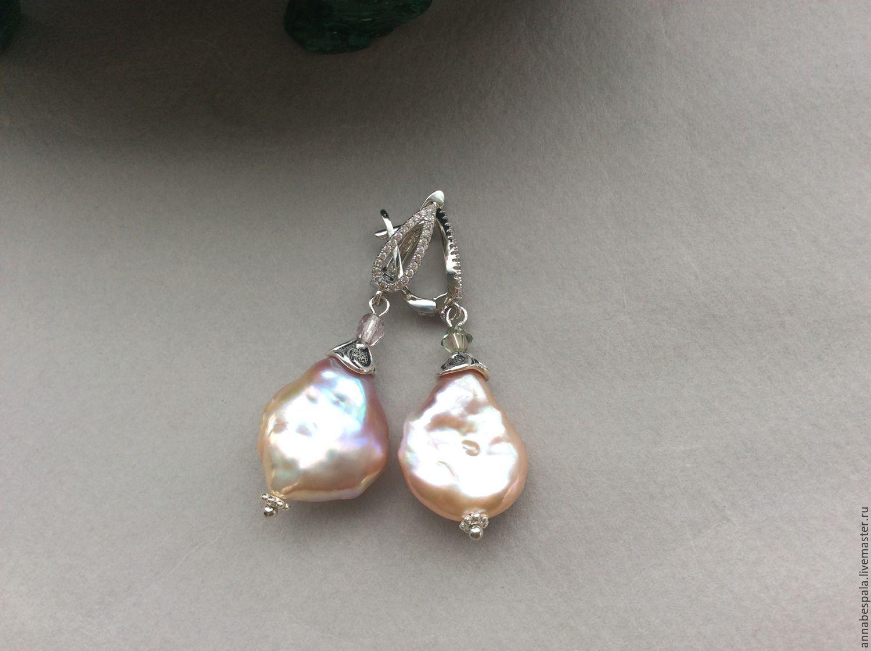 Earrings SOUFFLÉ pearls Baroque, Earrings, Moscow,  Фото №1