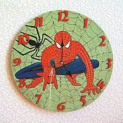 Для дома и интерьера handmade. Livemaster - original item Wall clock for boy`s spider-Man, watch handmade baby. Handmade.