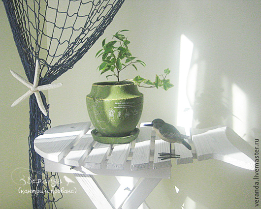 Деревянный столик-рыбка с потертостями. Веранда - товары и декор в стиле кантри и прованс.
