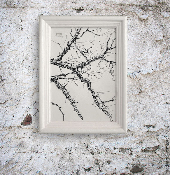 the picture Winter branches (in frame, white, white, black-and-white ...