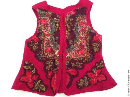 Одежда для девочек, ручной работы. Ярмарка Мастеров - ручная работа. Купить Валяный детский жилет Жар-птица. Handmade. Орнамент