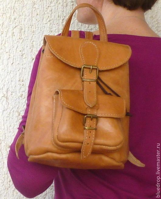 Рюкзаки ручной работы. Ярмарка Мастеров - ручная работа. Купить Маленький кожаный рюкзачок - разные цвета кожи. Handmade. Сумка