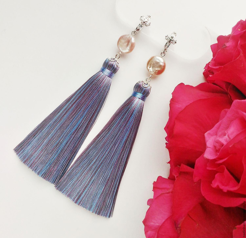 Earring of the brush 'Purple-blue' Baroque pearl, silk, Tassel earrings, St. Petersburg,  Фото №1