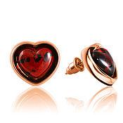 Украшения handmade. Livemaster - original item Earrings 925 silver, amber, heart-shaped, love. Handmade.