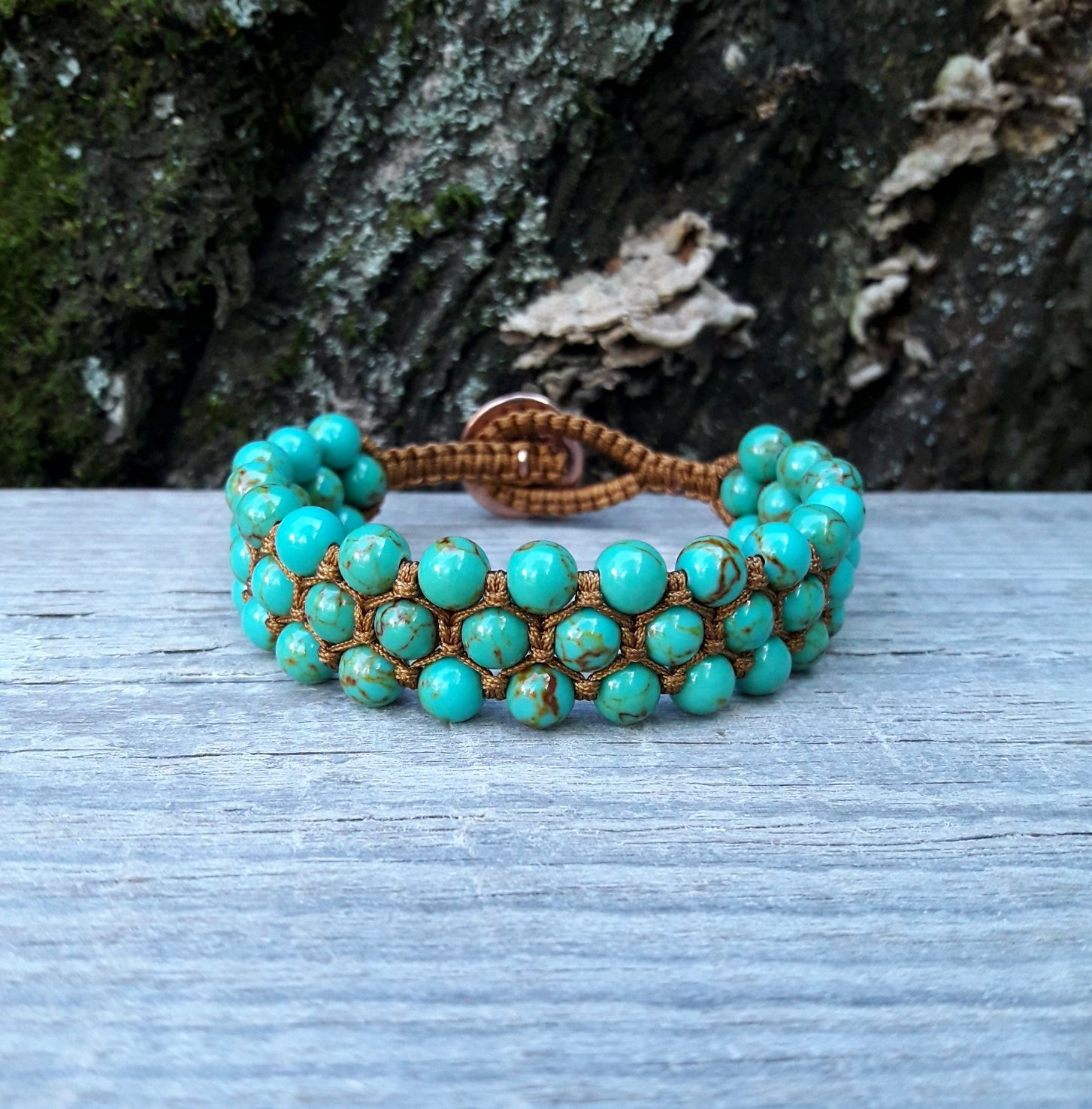 Turquoise braided bracelet 'Bird no branch', Bracelets, Moscow, Фото №1