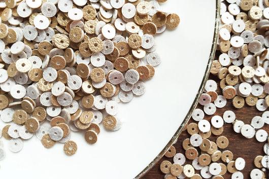 Вышивка ручной работы. Ярмарка Мастеров - ручная работа. Купить Пайетки, плоские пайетки, круглые пайетки, золото, 5 мм. Handmade.