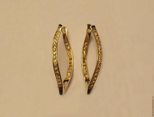 Серьги желтого золота с желтыми сапфирами(падпараджей)