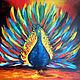 """Животные ручной работы. Ярмарка Мастеров - ручная работа. Купить Картина """"Павлин"""" (холст, масло, 55х60см). Handmade. Разноцветный, птица"""