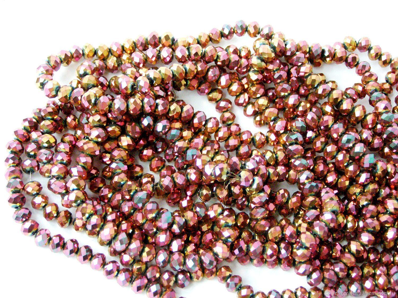 Бусины 4х3 мм рондель нить металлик розовое золото, Для украшений, Черновцы, Фото №1