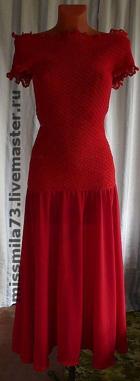 """Платья ручной работы. Ярмарка Мастеров - ручная работа. Купить платье комбинированное (вязание+шитье) """"All red"""" (всё красное). Handmade."""