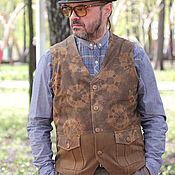 Одежда ручной работы. Ярмарка Мастеров - ручная работа Old`n`Gold 02 мужской жилет из замши. Handmade.