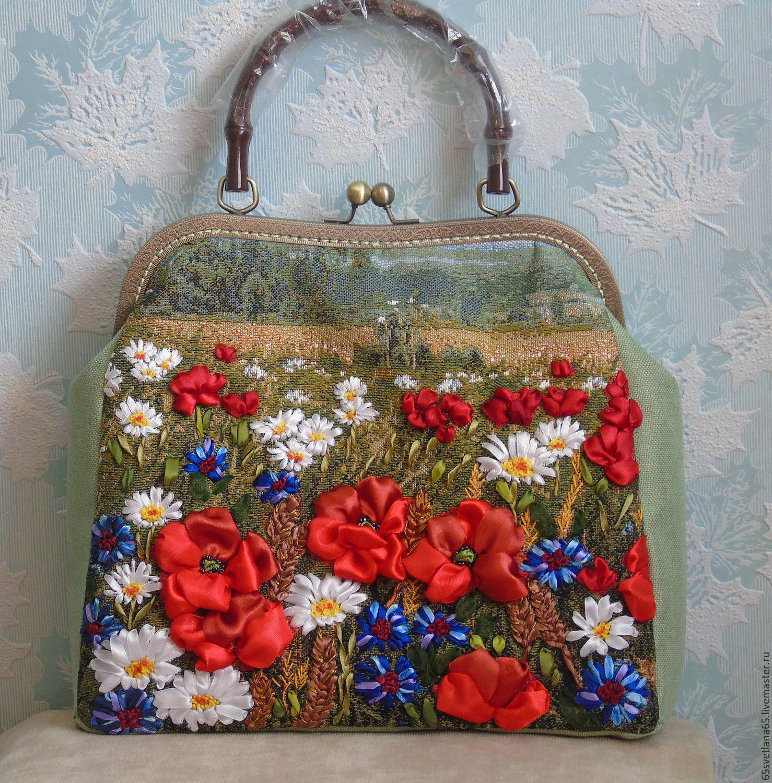 Вышивка сумки лентами своими руками