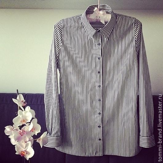 Блузки ручной работы. Ярмарка Мастеров - ручная работа. Купить Рубашка в полоску из 100% хлопка. Handmade. Тёмно-синий, в полоску