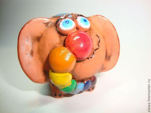 Миниатюра ручной работы. Ярмарка Мастеров - ручная работа. Купить Радужный слоник. Handmade. Слон, веселый