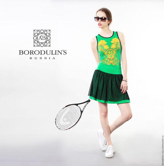 """Платья ручной работы. Ярмарка Мастеров - ручная работа. Купить Платье""""Большой теннис"""", (зеленое). Handmade. Ярко-зелёный, короткое платье"""
