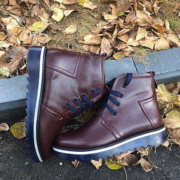 """Обувь ручной работы. Ярмарка Мастеров - ручная работа Ботинки """"Фантом бордо"""" синяя подошва. Handmade."""