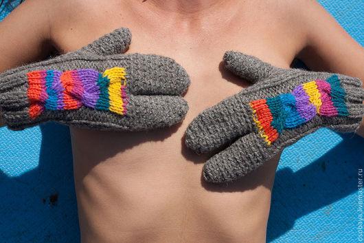 Варежки, митенки, перчатки ручной работы. Ярмарка Мастеров - ручная работа. Купить трипчатки. Handmade. Перчатки вязаные, необычный подарок