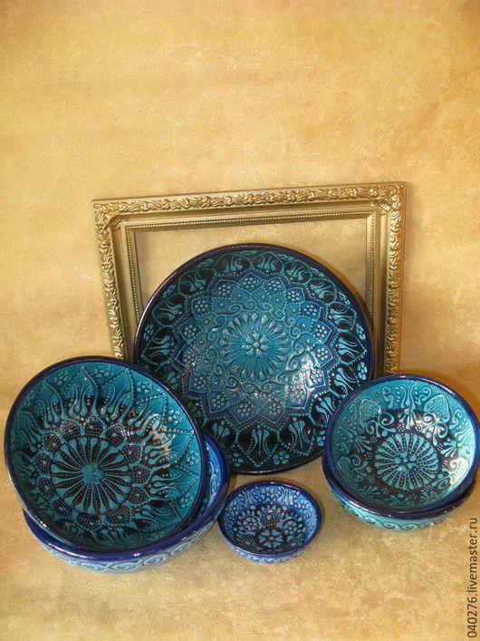 Красивые блюда `Роскошь востока`, керамика, ручная работа, Турция.