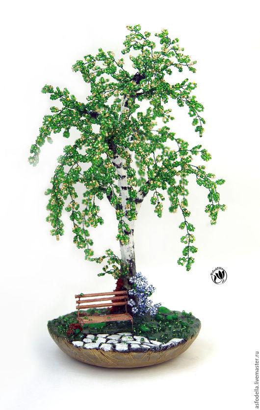 """Деревья ручной работы. Ярмарка Мастеров - ручная работа. Купить Дерево из бисера. Береза """"Летний день"""". Handmade. Комбинированный, береза"""