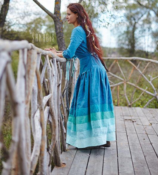 Платья ручной работы. Ярмарка Мастеров - ручная работа. Купить Льняное платье «Волны». Handmade. Морская волна, бирюза