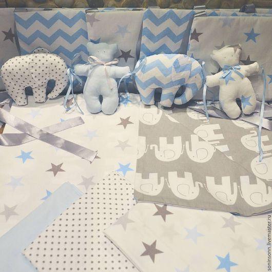 Текстиль, ковры ручной работы. Ярмарка Мастеров - ручная работа. Купить Комплект в детскую кроватку. Handmade. Голубой, ручная работа