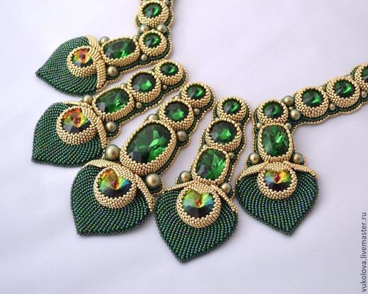 Колье, бусы ручной работы. Ярмарка Мастеров - ручная работа. Купить Колье Маюраттам (Majurattam). Handmade. Тёмно-зелёный, павлин