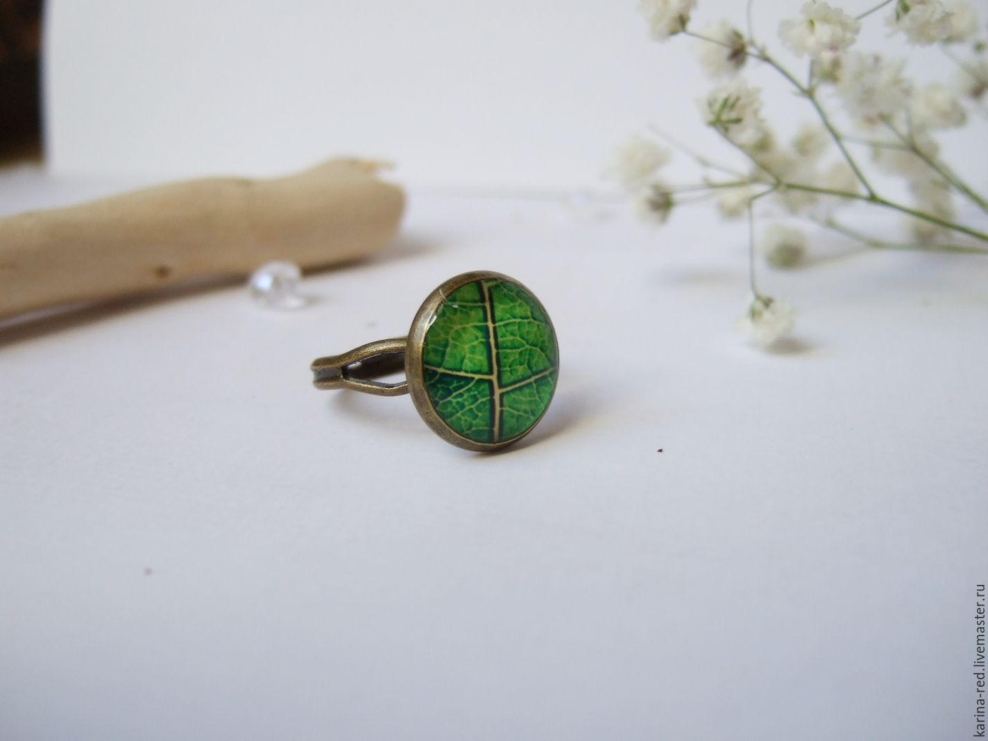 Delicate Ring with Green Leaf, Rings, Taganrog,  Фото №1