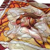 """Аксессуары ручной работы. Ярмарка Мастеров - ручная работа Батик платок """"Цветок хурмы"""". Handmade."""