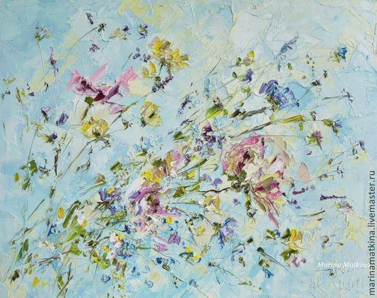 рельефные картины маслом, рельефные картины на стене, голубые, розовые цветы http://www.livemaster.ru/marinamatkina/contact