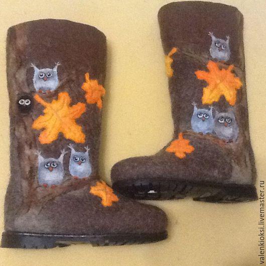 """Обувь ручной работы. Ярмарка Мастеров - ручная работа. Купить Валенки """"Совы 2"""". Handmade. Коричневый, валенки, валенки на подошве"""
