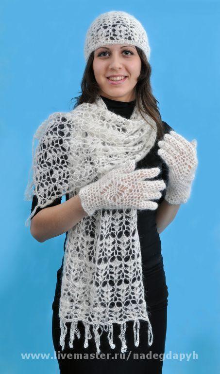 Комплекты аксессуаров ручной работы. Ярмарка Мастеров - ручная работа. Купить 79-комплект аксессуаров вязаный ,  шарф, шапочка, перчатки. Handmade.