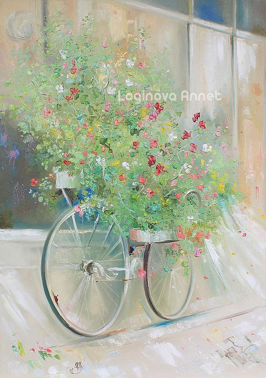 Картины цветов ручной работы. Ярмарка Мастеров - ручная работа. Купить Flower bicycle. Handmade. Бохо, необычный подарок