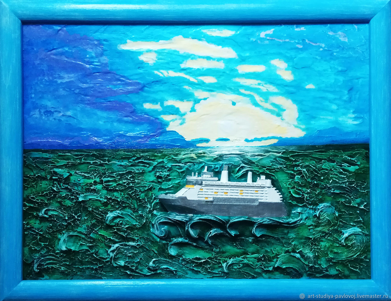 Панно объёмное теплоход волны, Картины, Москва,  Фото №1