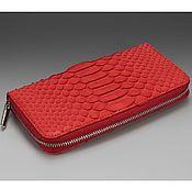 Сумки и аксессуары handmade. Livemaster - original item Wallet genuine Python skin red. Handmade.