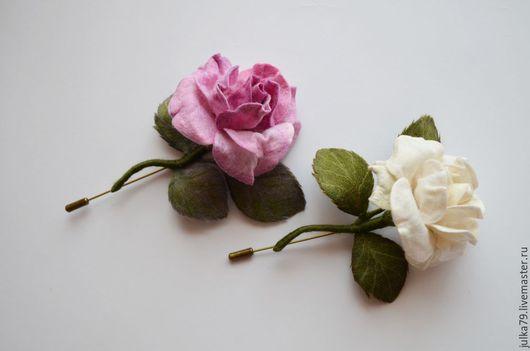 Броши ручной работы. Ярмарка Мастеров - ручная работа. Купить Розочки. Handmade. Розовый, войлок, брошь роза