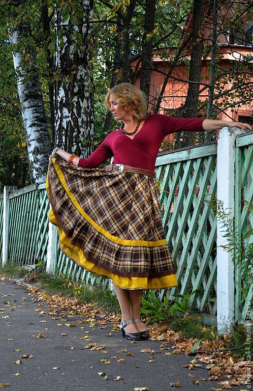 """Юбки ручной работы. Ярмарка Мастеров - ручная работа. Купить Длинная юбка в клеточку с оборками """"Кадриль"""". Handmade. Коричневый"""