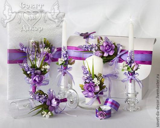 свадебные аксессуары для фиолетовой или сиреневой свадьбы