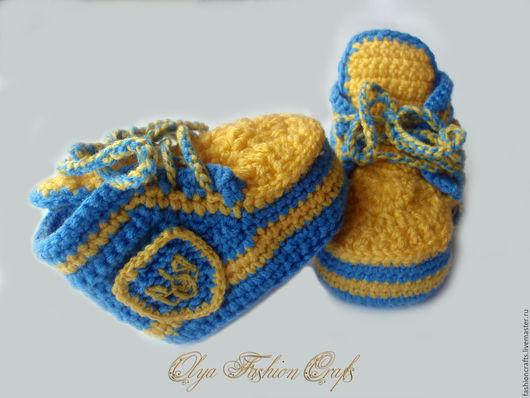 Для новорожденных, ручной работы. Ярмарка Мастеров - ручная работа. Купить Пинетки -кеды в Украинском стиле. Handmade. Голубой